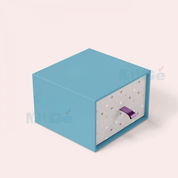 Fancy Color Printed Rigid Paper Packaging Drawer Silver Box1