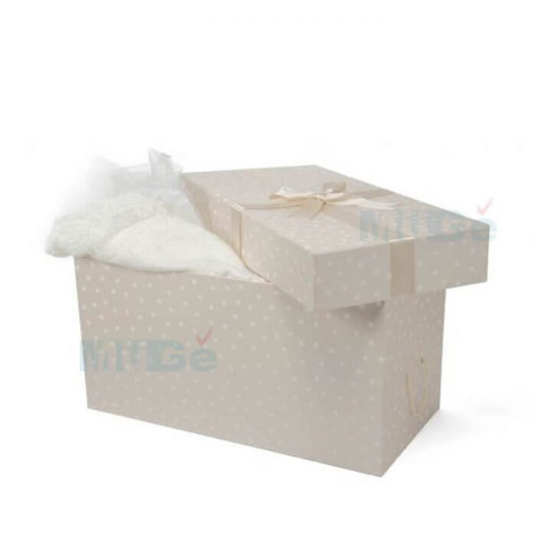 Luxury Cardboard Magnetic Wedding Dress Storage Box With Ribbon1