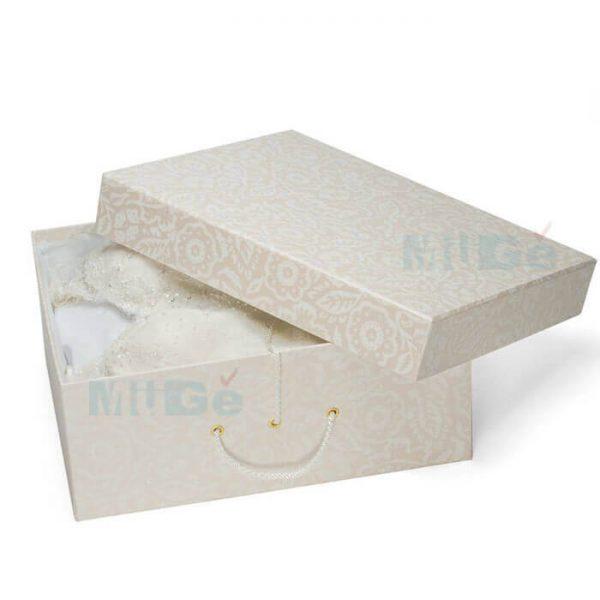 Luxury Cardboard Magnetic Wedding Dress Storage Box With Ribbon2