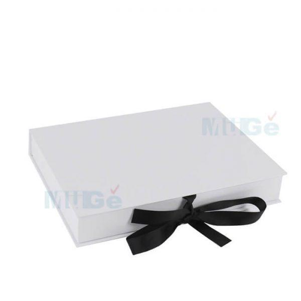 Luxury Cardboard Magnetic Wedding Dress Storage Box With Ribbon3